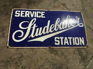 "Porcelain Studebaker Service Station Enamel Sign Size 20"" X 36"" Inches"