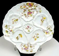 """GERMAN PORCELAIN CLAM SHAPED FLORAL DESIGN 5 WELL 8"""" OYSTER PLATE"""