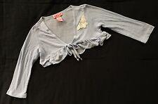 CANDIES Girls LIGHT Baby Blue KNIT SHORT Bolero SHRUG Jacket SZ MED Long Sleeves