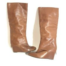 Steven by Steve Madden Brown Leather Boots Chunky Heel Maryn Style wedge Sz 8.5M