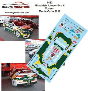 Decals 1/24 Ref 1483 Mitsubishi Lancer Vossen Rally Mounted Carlo 2016 WRC Rally