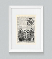 I Love Amsterdam Gabled Narrow Houses Vintage Dictionary Book Print Wall Art