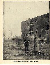 Russisch-Polen * Durch Granaten zerstörtes Haus (bei Lodz) * Bilddokument 1914