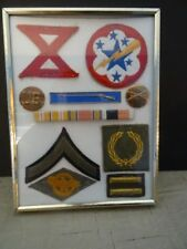 Military Service Display of Patches Bars Pins Etc