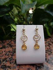 Goldohrringe mit Citrin und Spiral-Elementen, 585 Gold Filled