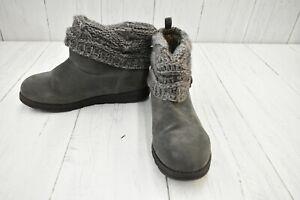 **Muk Luks Knitted Top Bootie Slipper, Women's size 10M, Gray