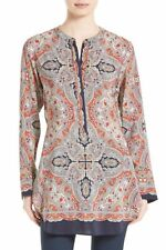 NWT- Theory Maraseille Premont Printed Tie-Back Silk Blouse, Multi - Size Small