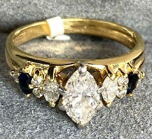 14K Yellow White Gold Marquise-Cut Diamond Royal Blue Sapphire Vintage Ring 5.25