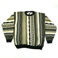 Vintage Bachrach Sweater Jumper Mens XL Multicolor Striped Textured Biggie Cosby