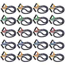 20 Pack Very Light-Heavy FitCord Covered Resistance Bands. 4ft Fitness Tubes.