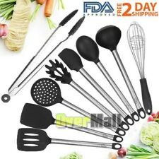 New listing Kitchen Utensil Set (8 pcs) Silicone & Steel Cooking Tools serving spoon .