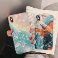For iPhone XS X 8 7 6s Plus Shockproof Bling Glitter Marble Soft TPU Case Cover