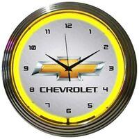 New Chevrolet bowtie yellow neon clock  200 + car auto gas bike clocks available