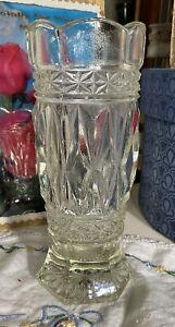 Vintage 30s Depression Art Deco Style Faceted Crystal Glass Vase VK2