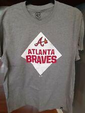 NEW Atlanta Braves MLB Baseball '47 Brand Mens L Gray Lightweight Cotton Shirt
