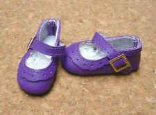 Doll Shoes, 47mm DK PURPLE Classic Ankle Straps - Bitty Bethany