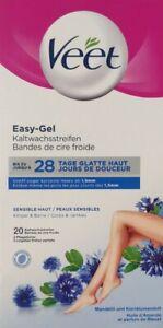 20 Veet Kaltwachsstreifen Easy-Gel für sensible Haut, Körper & Beine Waxing