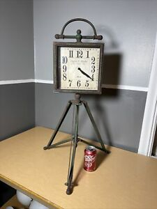 Rustic Iron Metal Tripod Stand Floor Clock Modern Vintage Antique