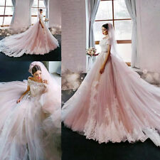 Pink Ball Gown Church Wedding Dress Lace Tulle Bridal Gown Custom Size 4 6 8 10+