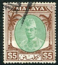 KELANTAN-1951-55 $5 Green & Brown Sg  81 GOOD USED V19897