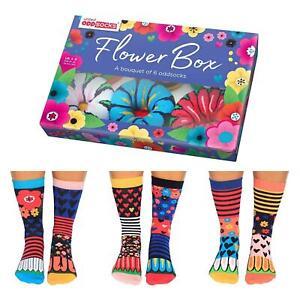 FLOWER BOX SOCKS UNITED ODDSOCKS LADIES UK 4 - 8 ODD SOCKS GIFT BOX GIFT IDEA