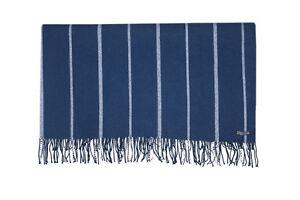 FOXFORD 100% LAMBSWOOL SOFA THROW BLANKET RUG BLUE & WHITE STRIPE 3663/A1