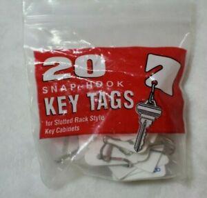 21 Pcs MMF Snap Hook White Key Tags Slotted Rack Style Rigid Plastic