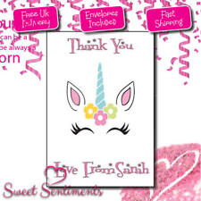 Personalised Unicorn Kids Thank you cards - 12 pack