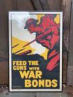 original 1917 Feed the Guns with War Bonds WWI British framed poster