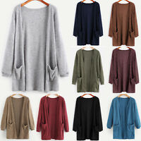 Women Long Sleeve Knitted Cardigans Sweater Baggy Pocket Jumper Coat Casual Tops