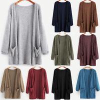 Women Cardigan Coat Open Front Knitted Long Sleeve Sweater Pocket Outwear Jacket