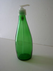 Green Glass Bottle Soap Dispenser With White Plastic Soap Pump