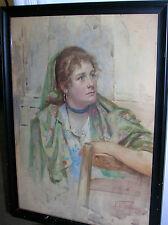Vincenzo De Stefani (1859-1937) Italian, Watercolor portrait of Woman on Chair