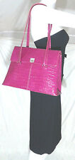 Mary Kay Genuine Leather Flapover Satchel Purse Handbag in Fuchsia