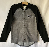 VANS Snap Front Knit Jacket S Small Logo on Chest Women's Grey & Black