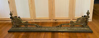 "Large Antique Ornate Brass Bronze Fireplace Hearth Fender Guard - 57"" - WE SHIP!"