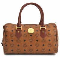 Authentic MCM Cognac Visetos Leather Vintage Hand Bag Brown B7912