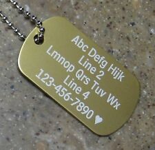 PERSONALIZED Dog Tag Necklace VERTICAL Wording - GOLD - Custom Laser Engraved
