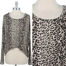 Full Leopard Animal Print High Low Hem Dolman Long Sleeve Round Neck Top S M L