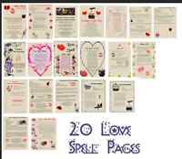 Book of Shadows 20 Love Spells Lot on parchment & color pics #LL7