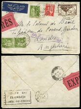 EXPRESS DELIVERY 1937 FRANCE to GB...LARGE ETIQUETTE + HANDSTAMP AIRMAIL