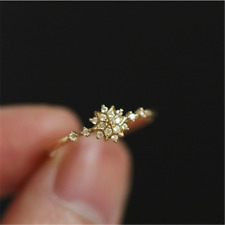 Male Female Vintage White Sapphire Snowflake Ring Yellow Gold Wedding Jewelry