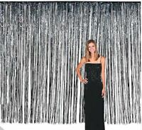 3ft x 8ft Metallic Black Tinsel Foil Fringe Curtain Photo Backdrop Party Decor