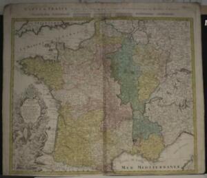 FRANCE KINGDOM OF FRANCE 1741 HOMANN HEIRS ANTIQUE ORIGINAL COPPER ENGRAVED MAP