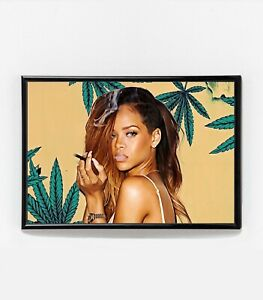 Rihanna Smoking Weed Painting   Framed Art Poster   Marijuana   NEW   USA