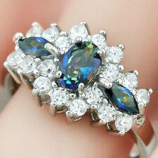 2.67 Carat Mystic Blue Topaz & White Sapphire .925 Sterling Silver Ring Sz 7