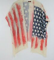 Scully womens Knit Cardigan poncho American flag patriot Country Thin small