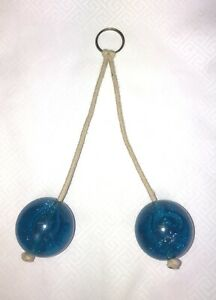 Vintage Clackers knockers Acrylic Blue Glitter Toy Ball Noise Maker Game Click