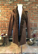 VTG BEBE M Brown Soft Long Faux Fur Fall Winter Layering Trench Coat Jacket