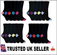 5 Pairs pack Ladies Socks black colour Toe and Hell Cotton UK size 4-7 KMNHTF